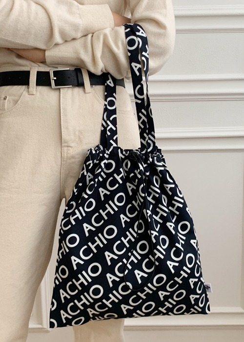 ACHIO LOGO COTTON BAG_BLACK